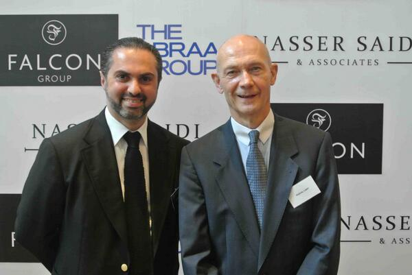 Pictured: Falcon chairman Kamel Alzarka with Pascal Lamy, former director general of the World Trade Organisation